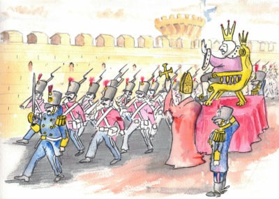 King Walter liked the idea of smartly dressed soldiers marching up and down outside his palace