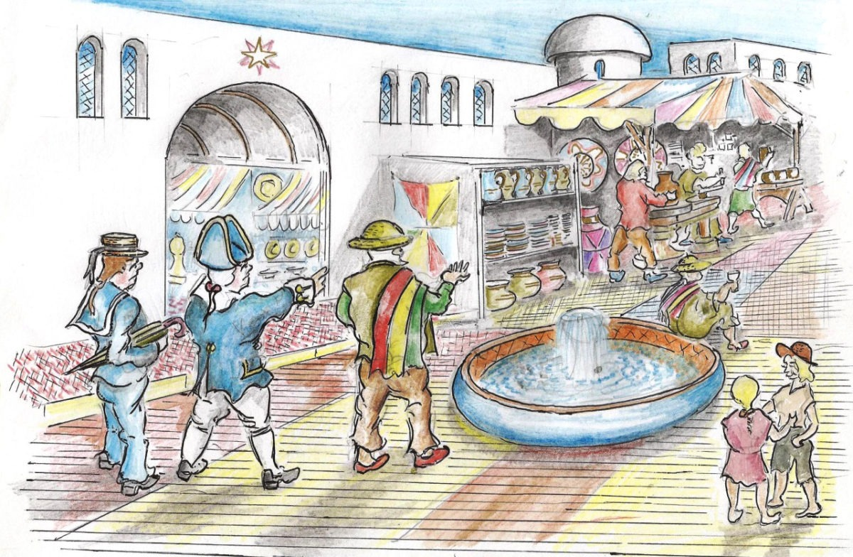 The visitors could see there was a wide variety  of goods for sale in the distant land's markets